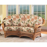 Mountain View Natural Rattan Crescent Loveseat -
