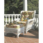Old Nassau Woven Rattan Wing Chair with Cushions -
