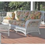 Old Nassau Natural Rattan Framed Wicker Sofa, Traditional Back -