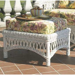 Old Nassau Rattan Framed Natural Wicker Ottoman with Cushion -