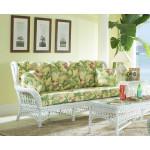 Old Nassau Natural Woven Rattan Wing Back Sofa  -