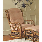 Orchard Park Natural Rattan High Back Wing Chair -