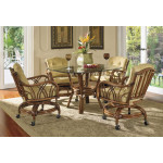 "Orchard Park Rattan Dining Set 42"" Round Glass -"