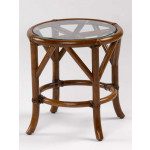 Rivera Round Rattan End Table with Glass To (Custom Finishes) -