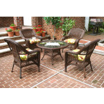 "Belaire Resin Wicker Conversation Set (1) 24"" High Table (4) Chairs - ANTIQUE BROWN"