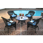 "Belaire Resin Wicker Conversation Set (1) 24"" High Table (4) Chairs - BLACK"