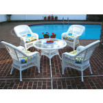 "Belaire Resin Wicker Conversation Set (1) 24"" High Table (4) Chairs - WHITE"