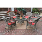 "Belaire Resin Wicker Conversation Set (1) 24"" High Table (4) Chairs - DRIFTWOOD"