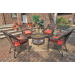 "Belaire Resin Wicker Conversation Set (1) 19.5""High Table  (4) Chairs - ANTIQUE BROWN"