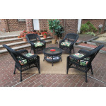 "Belaire Resin Wicker Conversation Set (1) 19.5""High Table  (4) Chairs - BLACK"