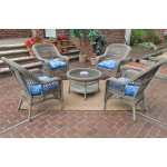 "Belaire Resin Wicker Conversation Set (1) 19.5""High Table  (4) Chairs - DRIFTWOOD"