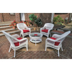 "Belaire Resin Wicker Conversation Set (1) 19.5""High Table  (4) Chairs - WHITE"
