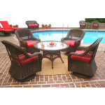 "Belaire Resin Wicker Swivel Glider Conversation Set (1) 24"" High Table (4) Chairs - ANTIQUE BROWN"