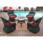 "Belaire Resin Wicker Swivel Glider Conversation Set (1) 24"" High Table (4) Chairs - BLACK"