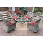 "Belaire Resin Wicker Swivel Glider Conversation Set (1) 24"" High Table (4) Chairs - DRIFTWOOD"