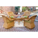 "Belaire Resin Wicker Swivel Glider Conversation Set (1) 24"" High Table (4) Chairs - GOLDEN HONEY"