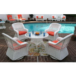 "Belaire Resin Wicker Swivel Glider Conversation Set (1) 24"" High Table (4) Chairs - WHITE"