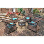 "Resin Wicker Swivel Glider Chair Conversation Set (1) 19.5"" Table (4) Chairs - ANTIQUE BROWN"