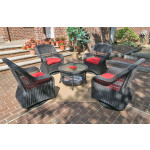 "Resin Wicker Swivel Glider Chair Conversation Set (1) 19.5"" Table (4) Chairs - BLACK"
