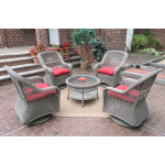 "Resin Wicker Swivel Glider Chair Conversation Set (1) 19.5"" Table (4) Chairs - DRIFTWOOD"
