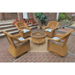 "Resin Wicker Swivel Glider Chair Conversation Set (1) 19.5"" Table (4) Chairs - GOLDEN HONEY"