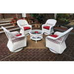 "Resin Wicker Swivel Glider Chair Conversation Set (1) 19.5"" Table (4) Chairs - WHITE"