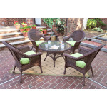 "High Back Veranda Resin Wicker Conversation Set (1) 24"" High Table (4) Chairs - ANTIQUE BROWN"