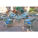 "High Back Veranda Resin Wicker Conversation Set (1) 24"" High Table (4) Chairs - DRIFTWOOD"