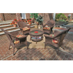 "High Back Veranda Resin Wicker Conversation Set (1) 19.5"" High Table (4) Chairs - ANTIQUE BROWN"