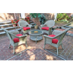 "High Back Veranda Resin Wicker Conversation Set (1) 19.5"" High Table (4) Chairs - DRIFTWOOD"