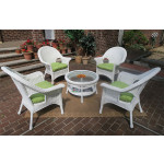 "High Back Veranda Resin Wicker Conversation Set (1) 19.5"" High Table (4) Chairs - WHITE"