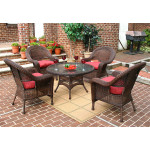 Malibu Resin Wicker Conversation Set (1) 24 High Table (4) Chairs - ANTIQUE BROWN