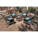 """Malibu Resin Wicker Conversation Set (1) 19.5"""" High Table (4) Chairs - ANTIQUE BROWN"""