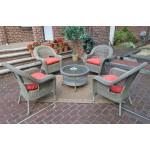 "Malibu Resin Wicker Conversation Set (1) 19.5"" High Table (4) Chairs - DRIFTWOOD"