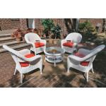 "Malibu Resin Wicker Conversation Set (1) 19.5"" High Table (4) Chairs - WHITE"