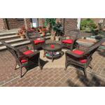 """Madrid Resin Wicker Conversation Set with  19.5"""" High Cocktail Table  - RUSTIC BROWN"""