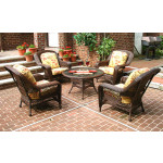 "Palm Springs Resin Wicker Conversation Set (1) 24"" High Table (4) Chairs - ANTIQUE BROWN"
