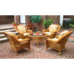 "Palm Springs Resin Wicker Conversation Set (1) 24"" High Table (4) Chairs - GOLDEN HONEY"