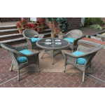 "Veranda Resin Wicker Conversation Set (1) 24"" High Table (4) Chairs - DRIFTWOOD"