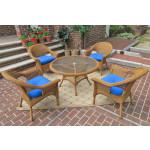 "Veranda Resin Wicker Conversation Set (1) 24"" High Table (4) Chairs - GOLDEN HONEY"