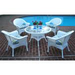 "Veranda Resin Wicker Conversation Set (1) 24"" High Table (4) Chairs - WHITE"