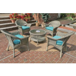 "Veranda Resin Wicker Conversation Set (1) 19.5"" High Table (4) Chairs - DRIFTWOOD"