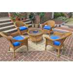 "Veranda Resin Wicker Conversation Set (1) 19.5"" High Table (4) Chairs - GOLDEN HONEY"