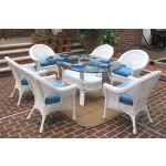 7 Piece Natural Wicker Dining Set Diamond Oval - WHITE