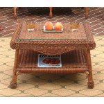 Diamond Natural Wicker Coffee Table with Glass Top - TEAWASH