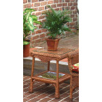 Natural Wicker Diamond End Table with Glass Top (2 colors) - TEAWASH