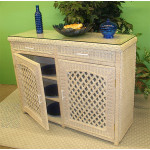 Buffet Lattice Wicker Cabinet - WHITEWASH