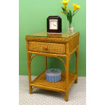 Diamond Wicker Night Table with Glass Top - CARAMEL