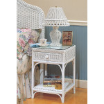 Diamond Wicker Night Table with Glass Top - WHITE