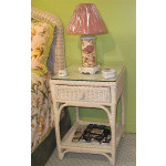 Diamond Wicker Night Table with Glass Top - WHITEWASH